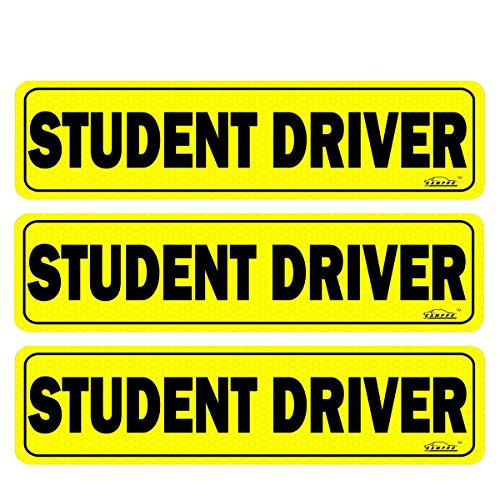 GAMPRO Set of 3 Vehicle Reflective STUDENT DRIVER Magnetic Signs Bumper Stickers, 12 X 3 X 0.1 Inches Reflective Vehicle Car Sign for New Drivers, Reduce Road Rage and Accidents for Rookie Drivers