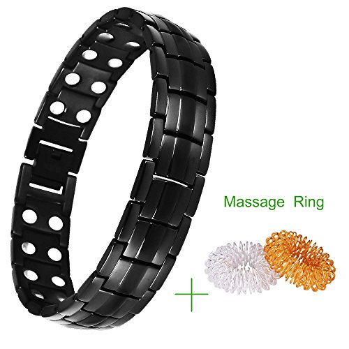 Double Magnets Titanium Magnetic Therapy Bracelet Pain Relief for Arthritis and Carpal Tunnel Adjustable Length with Massage Ring for Finger Relaxing