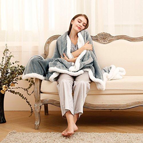 LANGRIA Luxury Sherpa Flannel Fleece Reversible Blanket Ligh