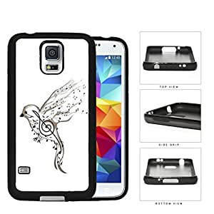 Song Bird And Musical Notes Rubber Silicone TPU Cell Phone Case Samsung Galaxy S5 SM-G900