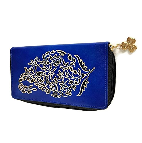 Tarini Womens wallet handmade Leather zip around clutch Paisley blues