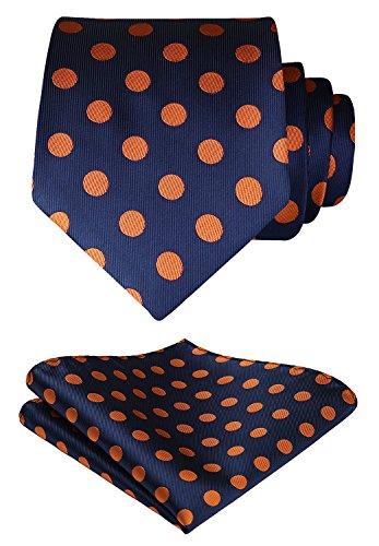 HISDERN Extra Long Polka Dots Tie Handkerchief Men's Necktie & Pocket Square Set (Navy Blue & Orange)
