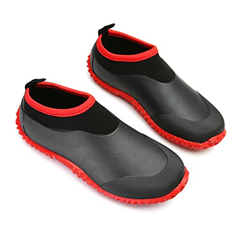gracosy Rain Boots for Women Men, Waterproof Garden Shoes Beach Water Shoes Lightweight Walking Sneaker Car Wash Footwear Red-Black 8 M US Women / 6.5 M US Men (Shoes Womens Garden)