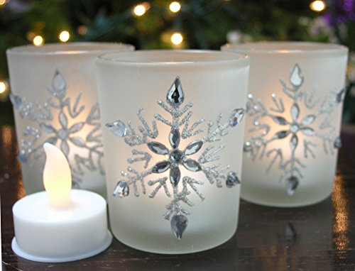 Snowflake Candleholders with Flameless Flickering LED Candles Set of 3 Frosted Glass Glittery Snowflakes with Jewels - 2.75