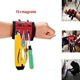 Magnetic Wristband Kit Amtake Professional Tool With 15 Strong Magnets for Holding Screws, Nails, Bolts, Gaskets, Pins, Needles, Drills, Fasteners and Small Metal Tools for men(Black+Red)