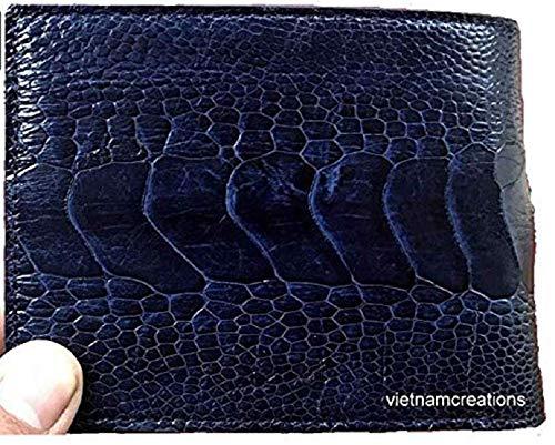 (vietnamcreations  RFID Blocking Genuine Ostrich Leather Handmade Bifold Wallet for Men medium 4# Blue OSTRICH wallet 4.7