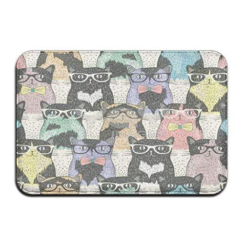 LFTRIS FTRGRAFE Speckled Cat with Glasses Home Door Mat Super Absorbent Antislip Front Floor Mat,Soft Coral Memory Foam Carpet Bathroom Rubber Entrance Rugs for Indoor Outdoor ()