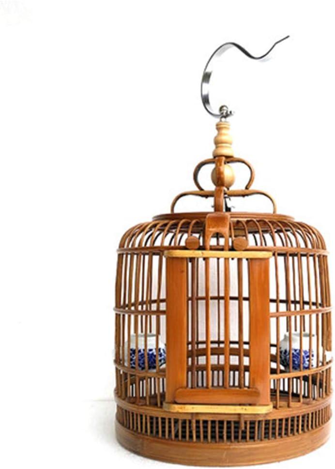 NBRTT Jaula de pájaros Nido para Mascotas de bambú Boutique Completa Loro Paloma Flor Redonda Estilo de Puerta Tallada Jaula de pájaros Chuan Talla Tordo Tamaño Grande Adecuado para criar