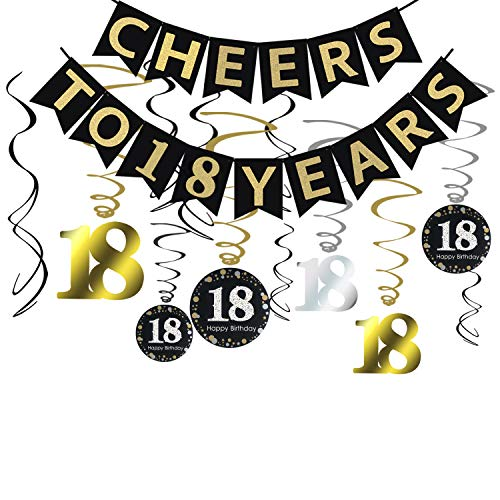 Tuoyi 18th Birthday Party Decorations KIT - Cheers to 18 Years Banner, Sparkling Celebration 18 Hanging Swirls, Perfect 18 Years Old Party Supplies 18th Anniversary -