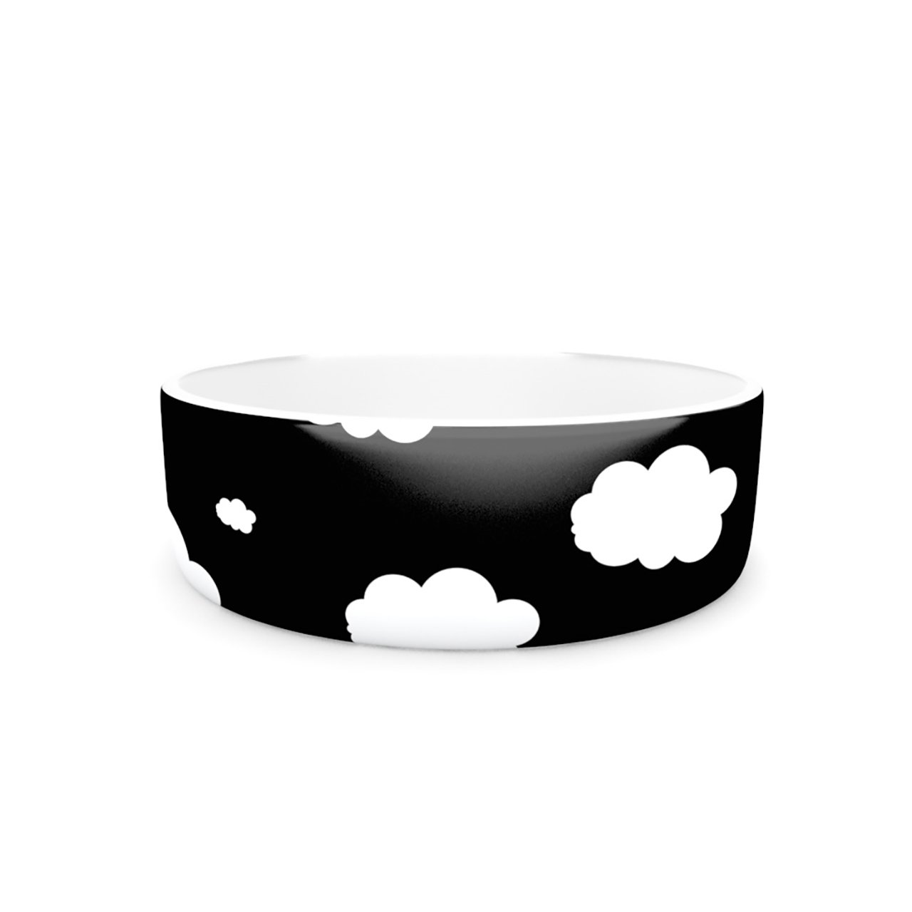Kess InHouse Suzanne Carter Clouds  Pet Bowl, 7-Inch, Black White
