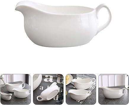 Cabilock Ceramic Sauce Boat Porcelain Gravy Boat Gravy Boats Easy Pour Gravy Sauce Boat 13.5X5.5X5.5CM