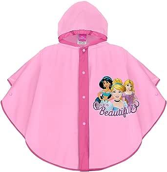 PERLETTI Poncho Impermeable Princesas Disney Cenicienta Ariel Rapunzel - Chubasquero de Lluvia Rosa para Niña - Chaqueta Antiviento con Capucha y Botones - Material EVA