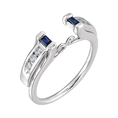 7698f8a8adbac 14k White Gold Sapphire & 1/5 CTW Diamond Ring Enhancer, 14kt White gold,  Ring Size 6