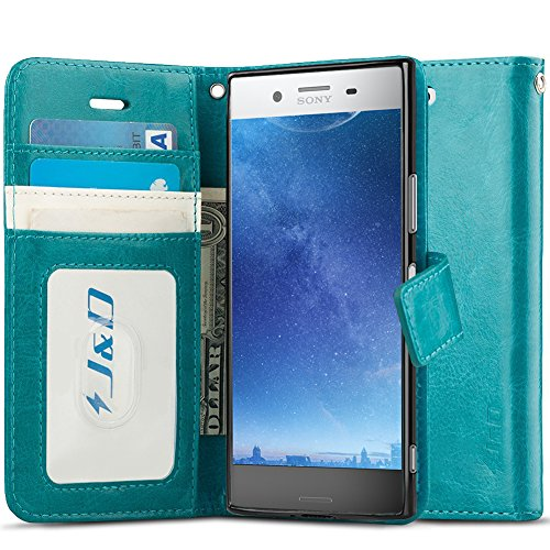 J&D Case Compatible for Xperia XZ Premium Case, [Wallet Stand] [Slim Fit] Heavy Duty Protective Shock Resistant Flip Cover Wallet Case for Sony Xperia XZ Premium Wallet Case - Aqua