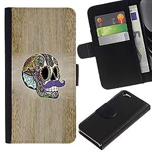 Planetar® Modelo colorido cuero carpeta tirón caso cubierta piel Holster Funda protección Para Apple (4.7 inches!!!) iPhone 6 ( Sir Moustache Wood Grain Skull Acid )