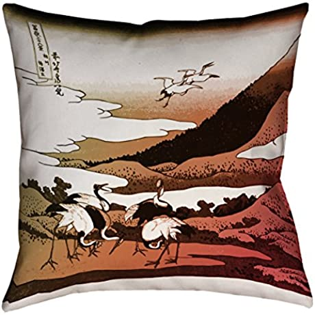 ArtVerse Katsushika Hokusai Japanese Cranes In Warm Tones X Floor Pillows Double Sided Print With Concealed Zipper Insert 40 X 40