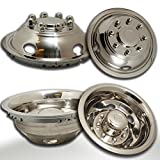 Wheel Simulators for Dodge Ram 3500 (Pack of 4) 17 Inch Snap On, 304L Stainless Steel Hub-Caps