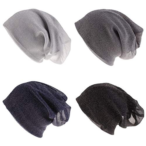 JOYEBUY 4 Pack Women Men Stylish Thin Hip-hop Soft Stretch Knit Slouchy Beanie Hat Skull Cap (Style G(Silver Silk Printed))