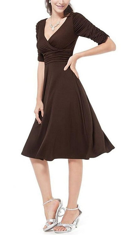 Tailloday Damen 50er Retro V-Ausschnitt Kurzärmel Sommerkleid Business  Faltenrock Cocktailkleid: Amazon.de: Bekleidung