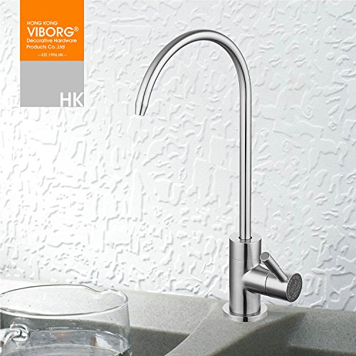 VIBORG-HK Deluxe Top Quality Sus304 Stainless Steel Lead-free Kitchen Drinking Water Filter Faucet Filtration System Purifier Faucet Tap for Filtered Water, Satin Nickel Brushed, Ks-b404S (Filtered Drinking Water Faucet compare prices)