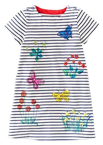 Fiream Grils Cotton Striped Dresses Shortsleeve Animal Appliques T-Shirt Casual Dresses 2-7T(Butterfly,5T/5-6YRS) (Applique Butterfly Animal)