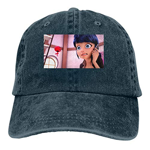 Men Vintage Adjustable Casquette Personalized Love Miraculous Ladybug Cool Baseball Cap Hat, Navy ()