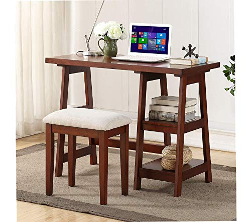 Mаjоr-q Cherry Finish Wooden Writing Desk with 2 Side Shelves and Stool