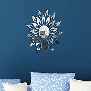 CUGBO 3D Sunflower Mirror Wall Stickers Round Acrylic Living Room Bedroom TV Background Wall Decals Marriage Room Entrance Home Decor (Silver)