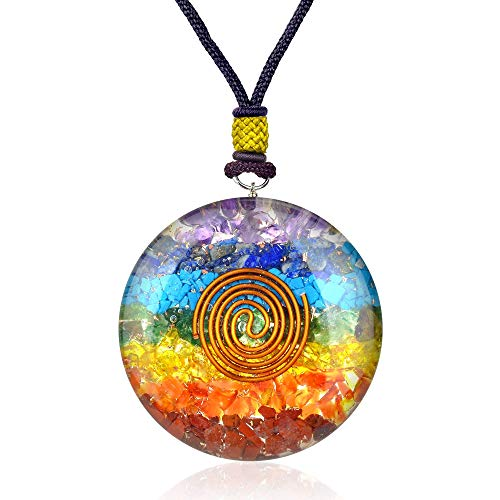 - Enegry Generator Orgone Gemstone Chakra Disc Necklace for Healing Chakra Love Booster EMF Negative Entities Protection Overcome Stress