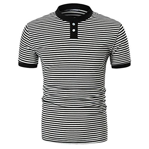 (Caopixx Men's Blouse,2018 Summer Men Short Sleeve Striped Slim Button Blouse Top Tee Polo T-Shirt (Asia Size XL, Black))