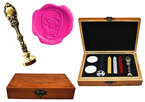 MNYR Vintage Skull Head Halloween Decorative Luxury Wood Box Bronze Metal Peacock Wedding Invitations Gift Cards Paper Stationary Envelope Custom Wax Seal Sealing Stamp Sticks Melting Spoon Box Set