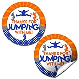 "Jump Zone Trampoline Park Birthday Party Sticker Labels, 40 2"" Party Circle Stickers by AmandaCreation, Great for Party Favors, Envelope Seals & Goodie Bags"