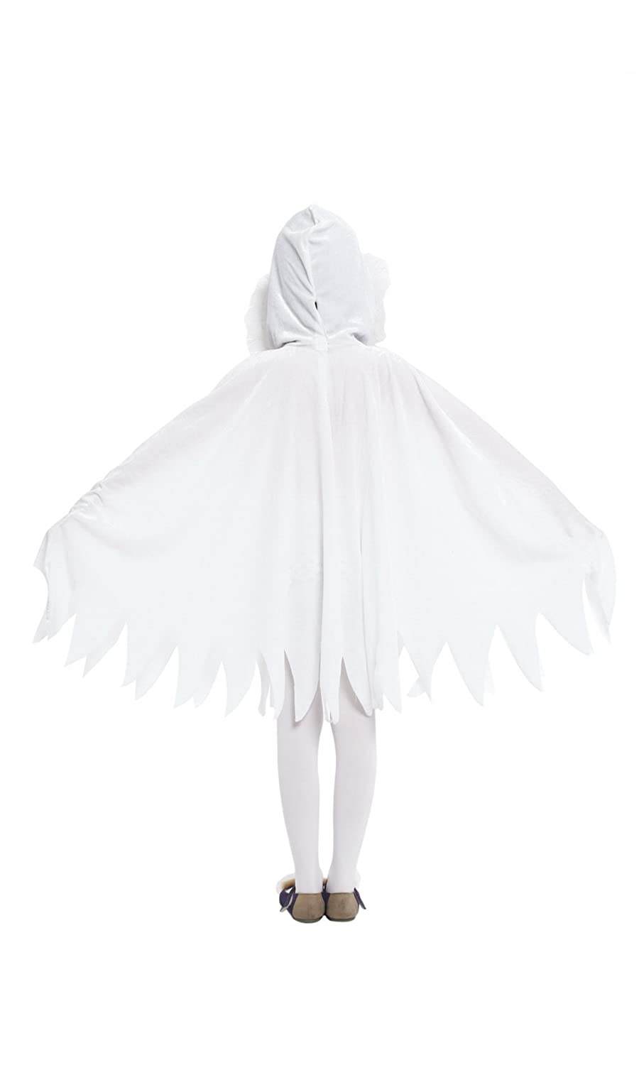 Jelord Kids Girl Halloween Costume White Ghost Hooded Cape Cosplay Outfits