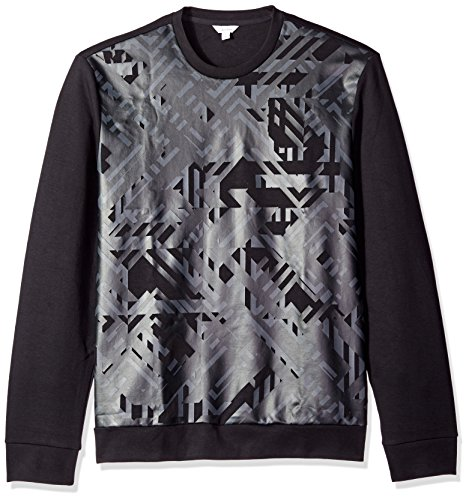 Calvin Klein Print Pullover (Calvin Klein Men's Geo Camo Print Long Sleeve Crew Neck Sweatshirt, Black, Large)