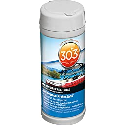 303 (30910-12PK) Marine UV Protectant Wipes for Vinyl, Plastic, Rubber, Fiberglass, Leather & More – Dust and Dirt Repellant - Non-Toxic, Matte Finish, 40 Towelettes (Pack of 12)