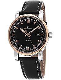 Grand Pacific Men's Black Dial Black Leather Strap Rose Gold Automatic Swiss Watch CH-2882BR-BK2
