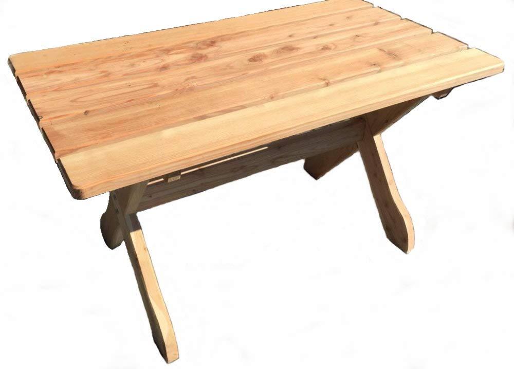 Garten Tisch 130 x 74 cm FSC Holz massiv Lärche Gartenmöbel: Amazon ...