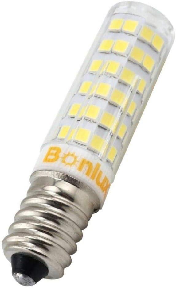 Bonlux 6W 110V E14 Mini LED Bulb, 50W Equivalent, T3/T4 European Base Replacement Omni-Directional E14 Bulb for Ceiling Fan, Chandelier, Fridge, Indoor Decorative Lighting(Pack of 4, Warm White)