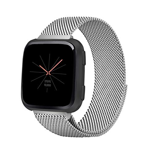Keasy Replacement Bands Compatible with Fitbit Versa and Fitbit Versa Lite, Stainless Steel Metal Mesh Bracelet Magnet Lock Wristbands