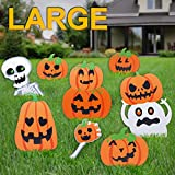 Pawliss Halloween Decorations Outdoor, Extra Large 8ct Pumpkins Skeleton and Ghost Corrugate Yard Signs with Stake, Family Friendly Trick or Treat Party Plastic Decor