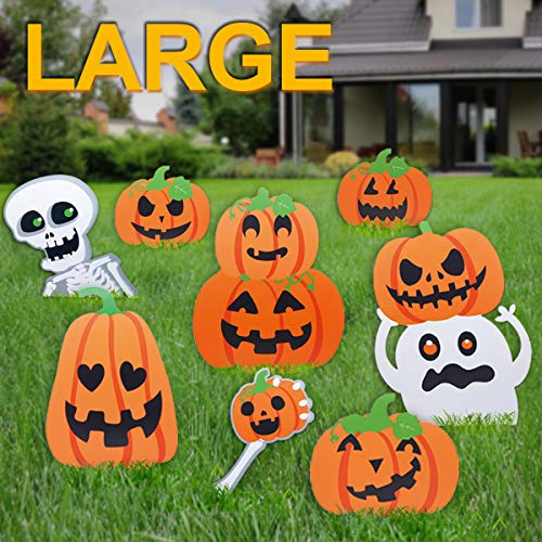 Pawliss Halloween Decorations Outdoor, Extra Large 8ct Pumpkins Skeleton and Ghost Corrugate Yard Signs with Stake, Family Friendly Trick or Treat Party Plastic -