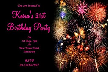 10 x personalised pink fireworks party invitations amazon co uk