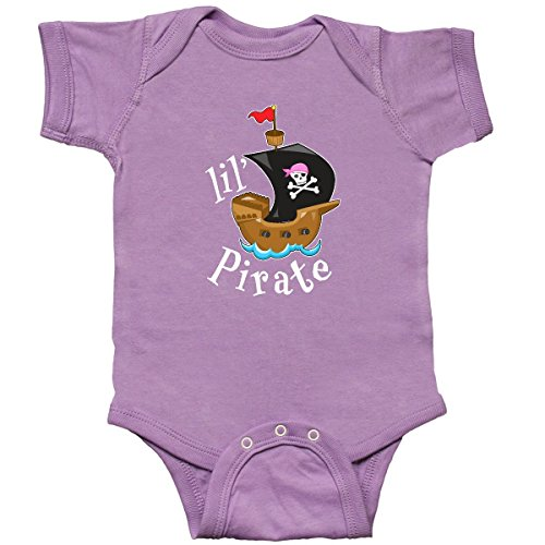 (inktastic - Lil' Pirate Pirate Ship, Pink Infant Creeper 6 Months Lavender)