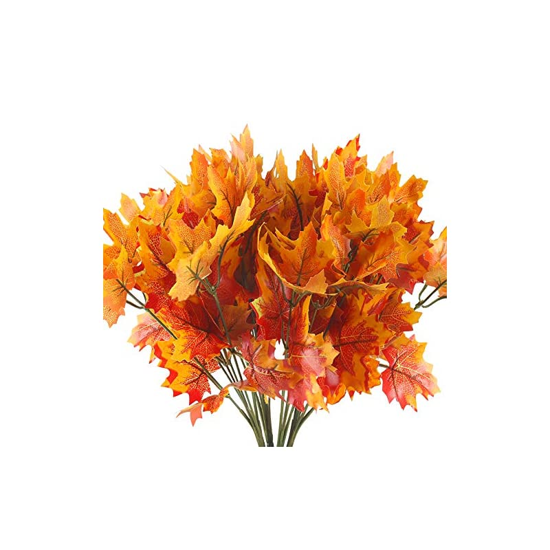 silk flower arrangements huaesin artificial maple leaves branches 4 branches autumn fall maple leaf stem shrubs for home kitchen festival autumns table centerpieces decoration