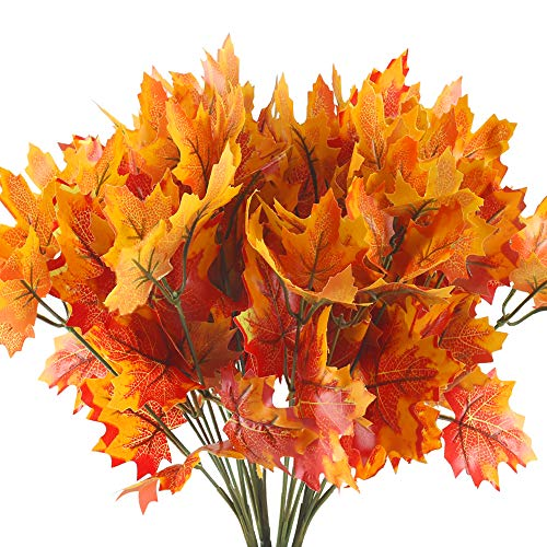 HUAESIN Artificial Maple Leaves Branches 4 Branches Autumn Fall Maple Leaf Stem Shrubs for Home Kitchen Festival Autumns Table Centerpieces Decoration