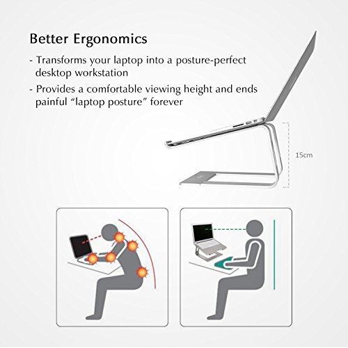 Laptop Stand Compatible for MacBook Pro/Air, Boyata Aluminum Stand Holder Ergonomic Ventilated Desktop Stand Design for All 10-17 Inch Apple Notebooks, Samsung, Acer, HP, Dell Laptop-Sliver Photo #6