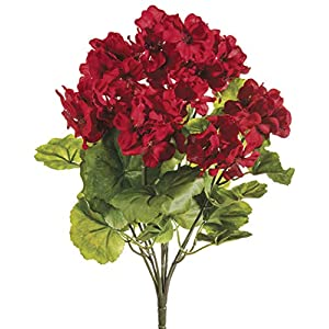 "Ten Waterloo Red UV Protected Outdoor Artificial Geranium Bush - 18"" Tall 16"