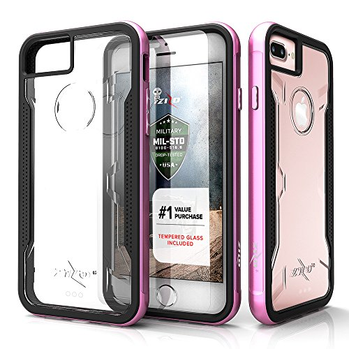 Zizo Shock Series Compatible with iPhone 8 Plus case Military Grade Drop Tested with Tempered Glass Screen Protector iPhone 7 Plus case Pink