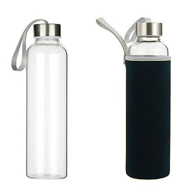 Bouteille en verre 550 ml Bouteille en verre pour eau, boissons, thé, café, jus de fruits Sans BPA, Réutilisable Portable Sport en verre Boisson Bouteille sans BPA, PVC et Plomb