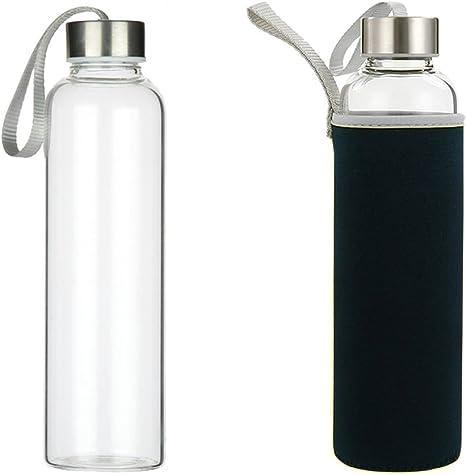 Cozywind Botella de Agua de Cristal, 550 ml con Tapas de Acero ...